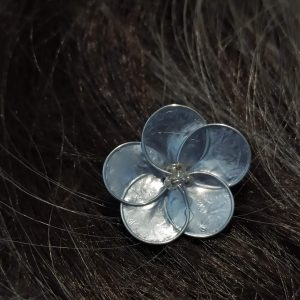 metallic-silver-five-petals-flower-hair-pins