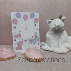 New Arrival Card | Baby Girl Card | New Baby Card | Beautifully Handmade uk