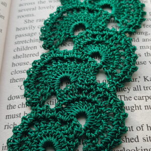Green crochet bookmark