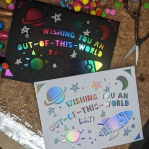 Handmade Papercut ' Galaxy Outer Space' celebration card