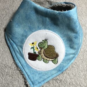 Luxury Baby Bib | Turtle with Sunflower | Beautifully Handmade