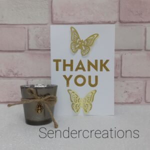 Thank You Card   Butterfly Design One   Beautifully Handmade uk