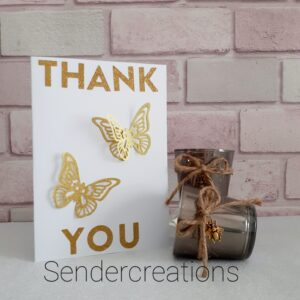 Thank You Card   Butterfly Design Two   Beautifully Handmade uk