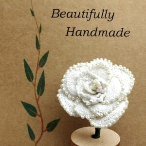 White & Pastel Crochet Rose